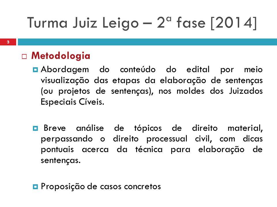 Turma Juiz Leigo – 2ª fase [2014]